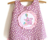 Eco friendly baby sundress, jumper, pinafore, 70s style, mauve, pink seal, ready to ship, size 0, 6 to 12 months