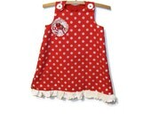 Size 2 dress, Red and white polka dot A - line spotty dotty dress, size 2T, with frill, baby dress, upcycled toddler girl clothing