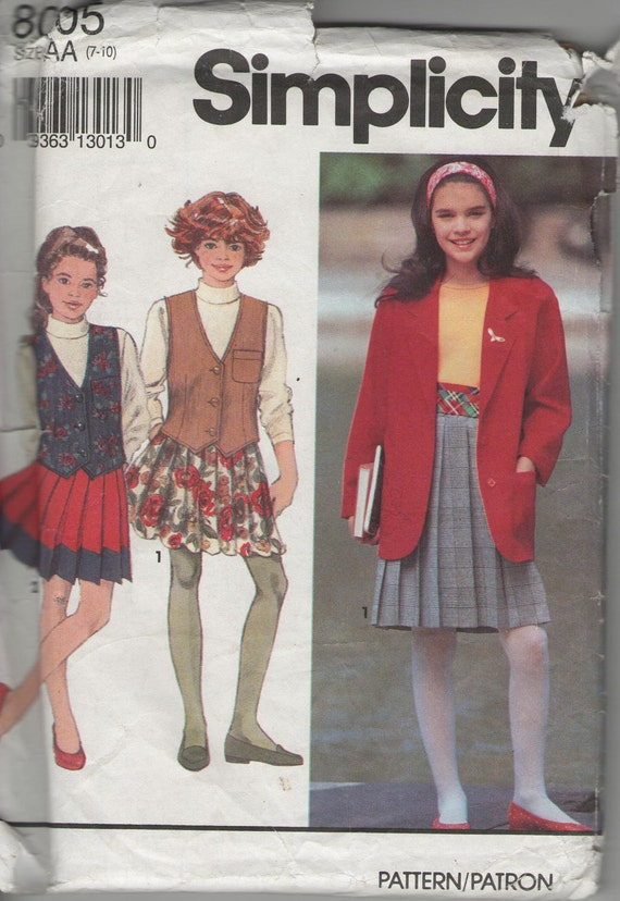 Simplicity 8005 sewing pattern for girls' jacket, vest and pleated skirt. Uncut and unused.