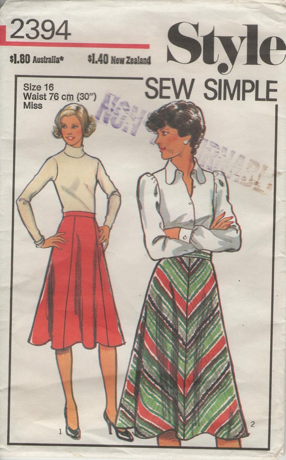 70s vintage sewing pattern, Style 2394, ladies womens sew simple skirt, size 16 waist 76cm