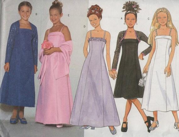 Girls dress shrug sewing pattern Butterick 6421 flowergirl formal bridesmaid uncut size 12, 14