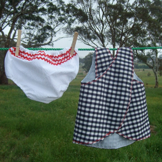 Baby dress girl sundress size 000, newborn jumper pinafore bloomers outfit, ecofriendly upcycled cotton black and white gingham fabric