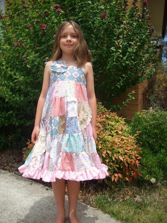 Upcycled patchwork twirly dress, size 6 - 8, pink, blue, pastel, shabby chic, ecofriendly fashion