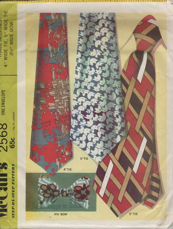 Tie pattern, necktie pattern, vintage mens tie pattern, 1970s tie pattern, men's sewing pattern, factory folds, McCalls 2568