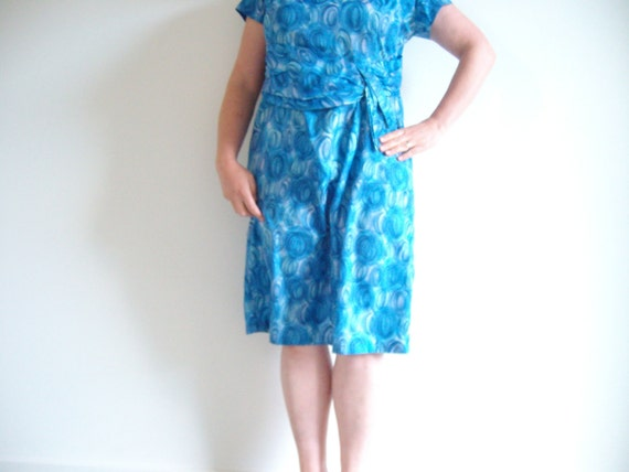 RESERVED 4 JESS 60s vintage blue dress,elegant lady brand, flattering ruching