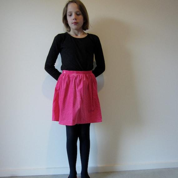 Vintage hot pink velvet skirt, girls size 8, handmade in the 70s.