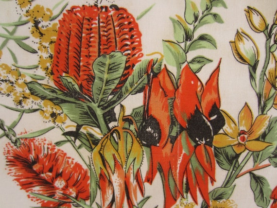 Vintage souvenir tea towel, Australia wildflower calendar dish towel, 1990 kitchen towel, orange with beautiful native flowers.
