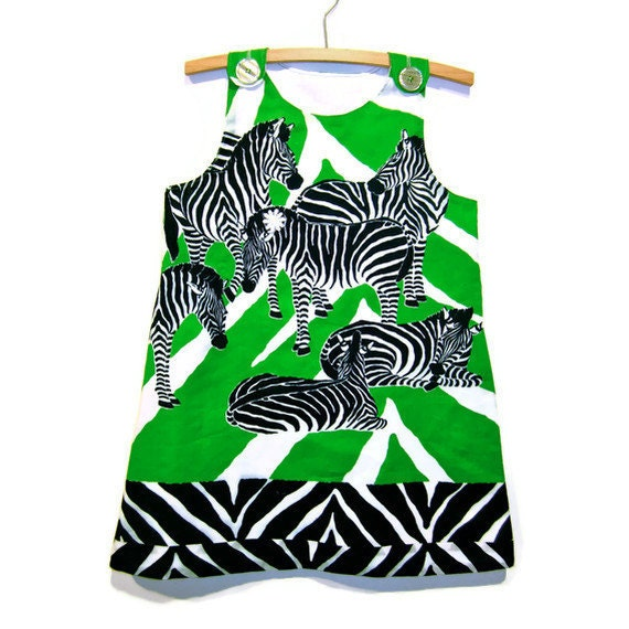 Zebra dress, size 4 summer pinafore handmade from upcycled green black and white zebra fabric with white cotton lining