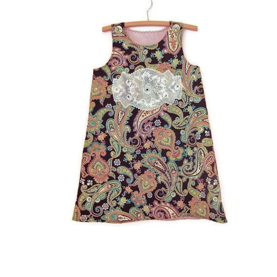 Girls paisley dress pinafore jumper size 5, brown and green paisley, handmade and ready to ship