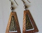 Vintage Metal Pyramid Dangle Earrings