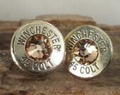 Bullet  Earrings  - Stud Earrings - Ultra Thin - Winchester Colt 45 - Gold Rush