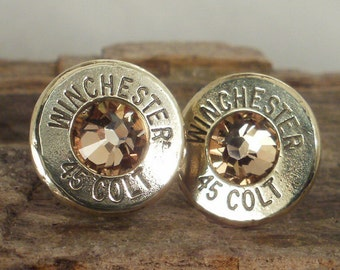 Bullet  Earrings  - Stud Earrings - Ultra Thin - Winchester Colt 45 - Gold Rush