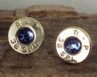 Bullet  Jewelry - Bullet Earrings  - September Birthstone - Sapphire - Ultra Thin