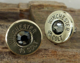 Bullet Earrings - Stud Earrings - Ultra Thin - Colt 45 - Black Bart
