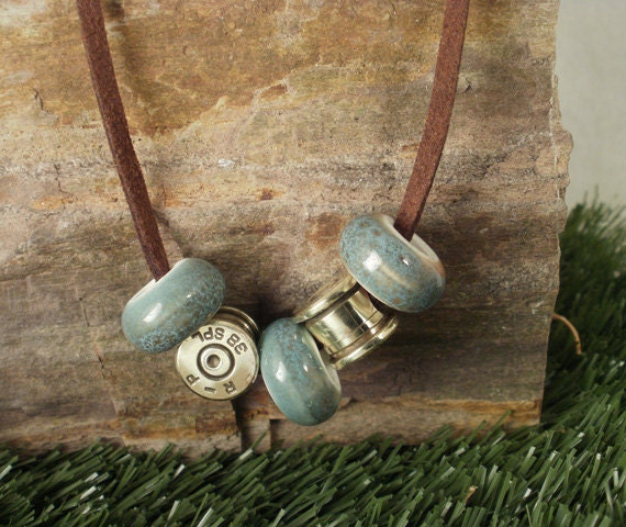 Bullet Casing Jewelry -  Bullet Necklace - Aqua Beads - 38 SPL casing