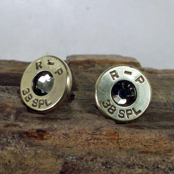Bullet  Earrings  - Stud Earrings - Ultra Thin - Black Diamond