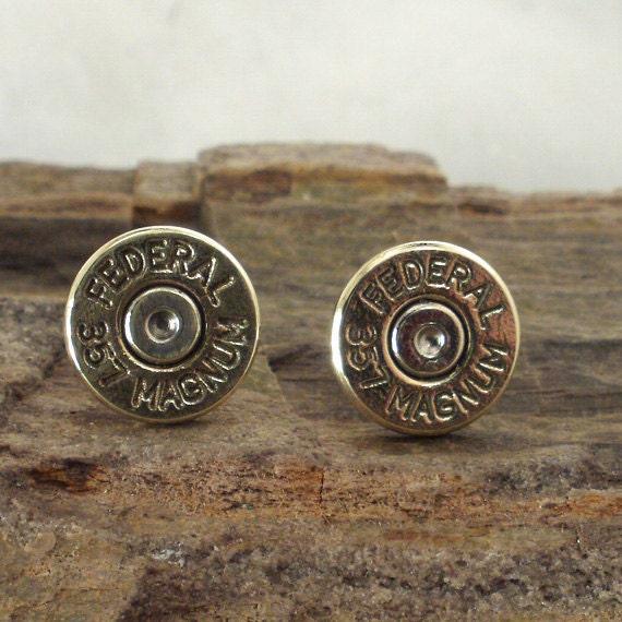 357 Magnum Bullet Earrings - Post Earrings - Ultra Thin - Federal