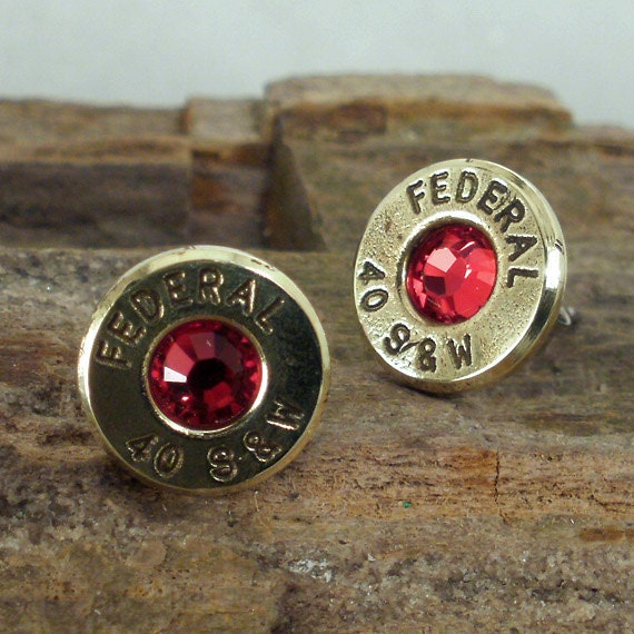 Forty Red Bangles: Bullet Jewelry Red Federal 40 S&W Bullet Earrings Stud