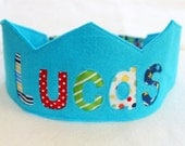 Felt Crown Birthday Crown -  Personalized - ORIGINAL STYLE - Noble - Turquoise Blue