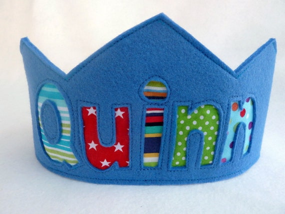 Felt Crown Birthday Crown -  Personalized - ORIGINAL STYLE - Noble - Blue