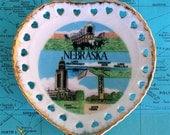 Vintage Retro Nebraska Souvenir Heart Shaped Cutouts Plate