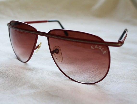 80s Aviator Red Eagle Sunglasses