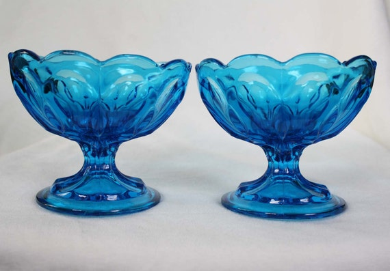 RESERVED for Sharon BabycakesXO / Pair of Vintage Aqua Blue Glass Compote Dishes / RESERVED