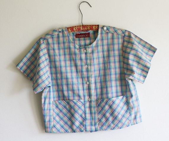 SALE Plaid Crop Top T-shirt with Pockets SALE