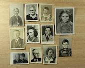 50 Portrait Photo Lot - Antique Vintage Snapshot Close Up Photo Booth Passport Military Miniature Photographs
