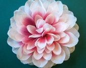 White and Pink Dahlia Hair Flower or Pin - Bridesmaid Flower Hair Accessory