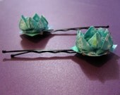 Set of 2 Paper Origami Lotus Flower Hairpins - Aqua / Teal with White Pearl Bead