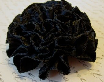 Black Carnation Ruffled Fabric Flower Pin, Hair Clip, Fascinator, or Headband