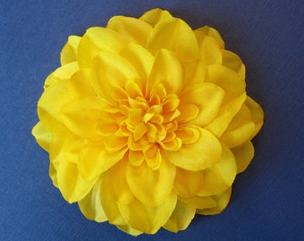 Bright Yellow Dahlia - Fabric Flower Hair Accessory: Pin, Hair Clip, or Fascinator