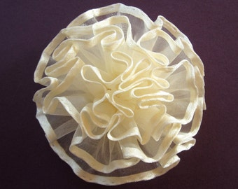 Ivory Satin and Tulle Ruffled Fabric Flower Pin or Hair Accessory