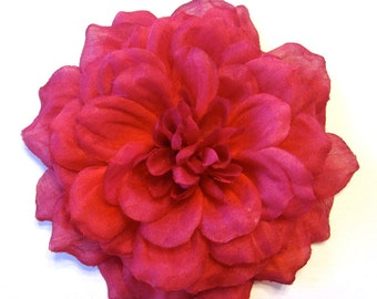 Vivid Pink Dahlia Hair Clip - Fabric Flower Hair Accessory or Flower Pin