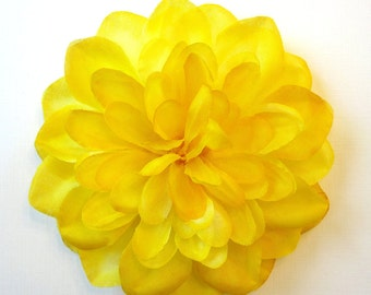 Bright Yellow Dahlia - Fabric Flower Fascinator or Pin