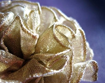 Gold Ruffled Fabric Flower Pin, Hair Clip, Fascinator, or Headband