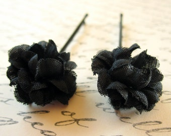 Set of 2 Black Flower Hairpins