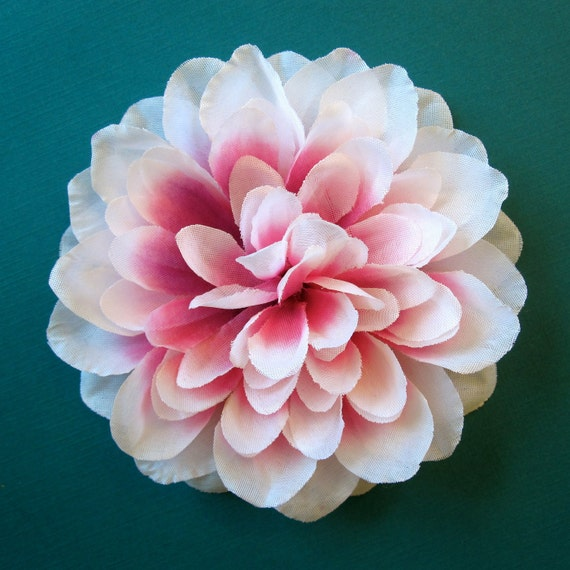 White and Pink Dahlia Hair Flower or Pin - Bridesmaid Flower Hair Accessory