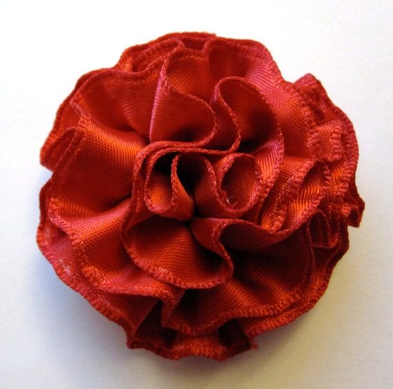 Crimson Red Carnation Ruffled Fabric Flower Pin, Hair Clip, Fascinator, or Headband