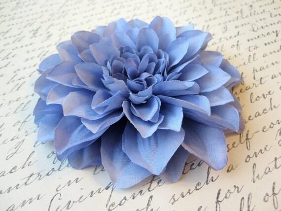 Periwinkle Blue Dahlia Hair Flower - Light Blue Hair Accessory or Pin