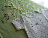 Adorable little onesies JUST FOR TWINS onesies size 0 to 3 months