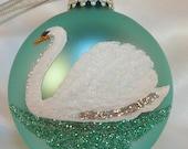 Hand Painted White Swan Glitter Glass Ball Ornament - Unique Matte Finish Aquamarine Ornament