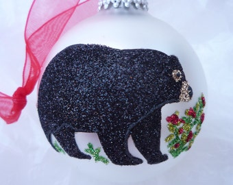 Brown or Black Bear Glitter Ornament - Personalized Unique Black Bear with Holly Bushes on White or Red Ornament