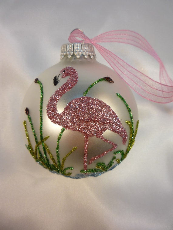 Unique Hand Crafted Pink Flamingo Bird on White Ornament - Florida Christmas Flamingo