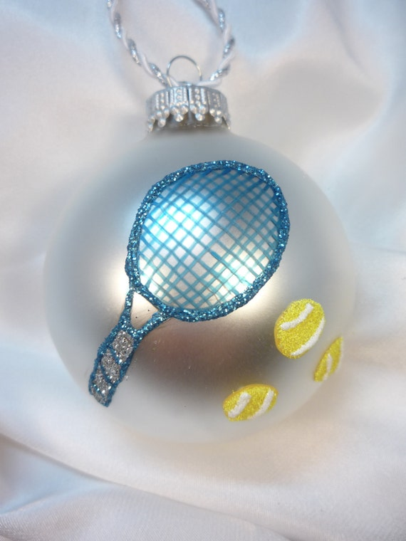Personalized tennis racket glass ball ornament