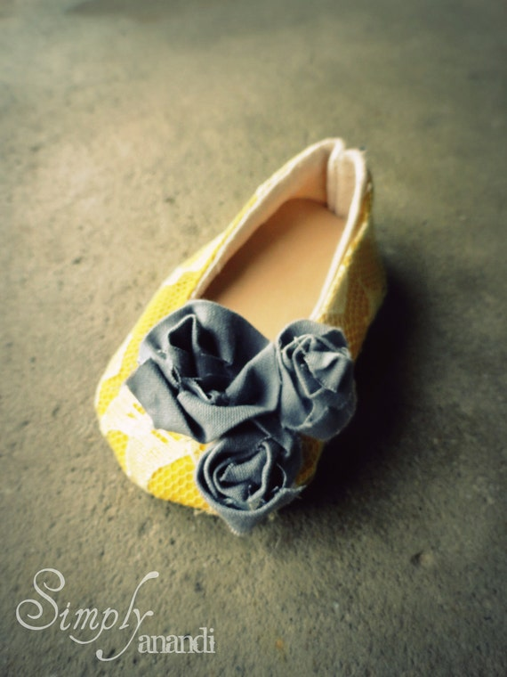 Baby Girl shoes--spring--Vintage lace mustard yellow and gray Ballet Flats for baby--available in sizes infant through toddler