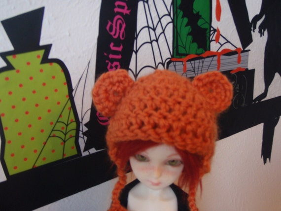 Orange Minifee sized ball jointed doll  bear hat