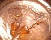 I Heart Jupiter - Goldtone Wire Wrapped Fishhook Earrings & Copper Beads