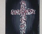 Modern Gothic Cross on 8 X 10 Canvas.